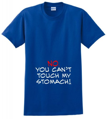 No You Can'T Touch My Stomach Maternity Themed T-Shirt Xl Royal