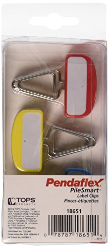 Pendaflex Pilesmart Label Clips with Write On Tabs, Primary Assorted Colors, 12 per Pack (18651EE)