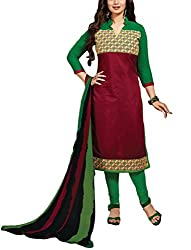 Rudra house Women's chanderi cotton unstitched dress material(PKR-1001 red and green free size)