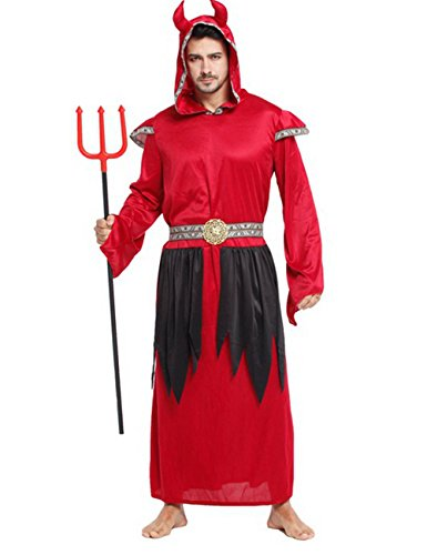 LaLaMa Men's Halloween Adult Devil Costume Party Cosplay Robes Clothes