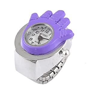 dial redondo del dedo del reloj del anillo de plata púrpura del tono