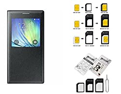 Combo Of SIM Card Adapter samsung Galaxy Grand 2/ 7102 Flip Cover Premium Quality Case Flip cover Black Colour For samsung Galaxy Grand 2/ 7102
