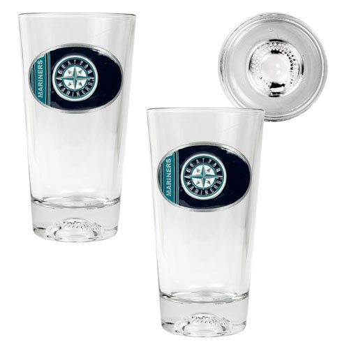 MLB Seattle Mariners Two Piece Pint Ale Glass Set with Baseball Bottom - Oval Logo at Amazon.com