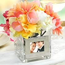 Square Glass Vase with Photo Frame Customize: Yes