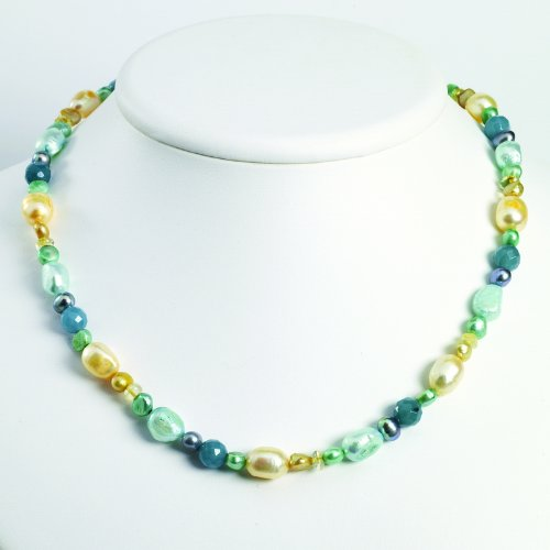 Sterling Silver Blue Jade/Citrine/Freshwater Cultured Pearl Necklace. 18in long.