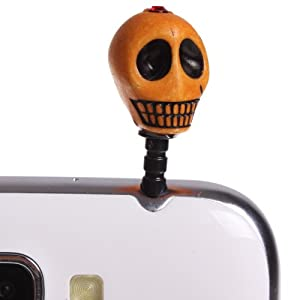 Wisedeal Bling 3.5mm Skeleton Head Skull Pattern Cellphone Charms Anti-Dust Dustproof Earphone Audio Headphone Jack Plug Stopper for iPhone 4 4S Samsung Galaxy S2 S3 Note I9220 HTC Sony Nokia Motorola LG Lenovo (Orange)