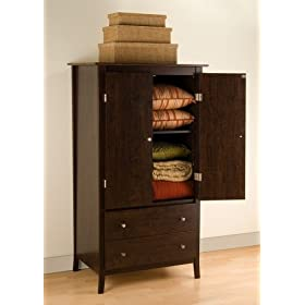 Prepac EMH-3159 Manhattan 2 Drawer Armoire Espresso