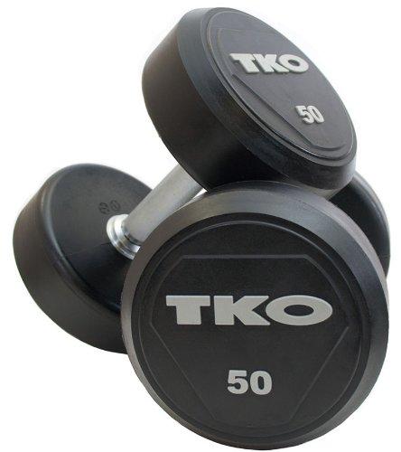 TKO Rubber Encased Solid Head Pro Series Dumbbells – 105-120 lb. Set Free Shipping