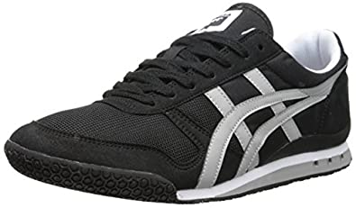 Onitsuka Tiger Ultimate 81 Classic Running Shoe, Black/Light Grey, 4 M US