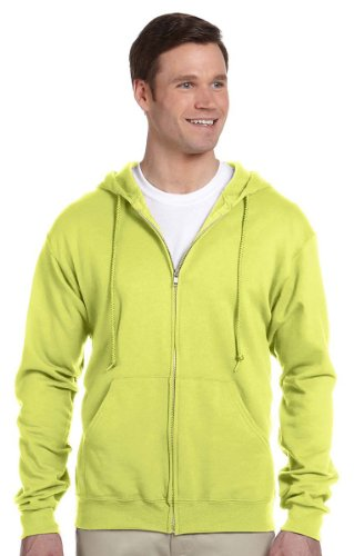 Jerzees NuBlend Poly Cotton Fleece Full-Zip Drawcord Hood, SAFETY GREEN, 3XL