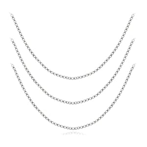 "Sterling Silver 16"", 20"" and 30"" Box Chain Necklace, Set of Three"