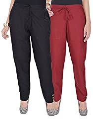 Kalrav Solid Black and Maroon Cotton Pant Combo