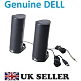 Genuine Original Dell AX210 AX210CR Black Multimedia Stereo Speakers for Optiplex Inspiron Vostro XPS Latitude Studio and any other Laptops and Desktop PCs , USB Powered , Dell P/Ns : X147C , X148C , R126K , H253D , 520-10987