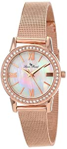 Lucien Piccard Women's LP-12006-RG-22MOP Veleta White Mother-Of-Pearl Dial Swarovski Crystal Accents Rose Gold Ion-Plated Mesh Stainless Steel Watch