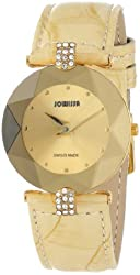 Jowissa Women's J5.187.M Facet Strass Gold PVD Stainless Steel Beige Leather Band Crystal Watch