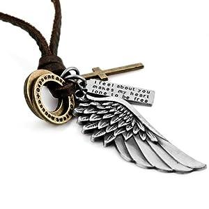 Justeel Herren Silber Gold Kreuz Engel Flügel Anhänger Halskette ,mit ketten, mit Geschenk-Box