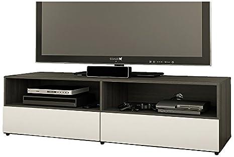 Nexera 220133 Allure TV Stand, 60-Inch, Ebony and White