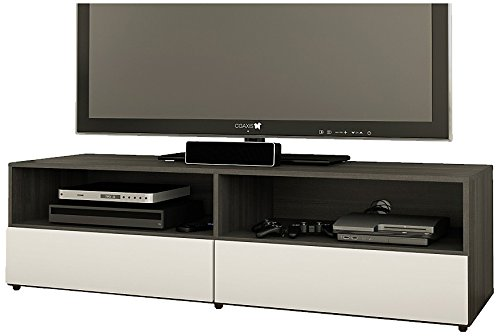 Nexera 220133 Allure Tv Stand, 60-Inch, Ebony And White front-842772