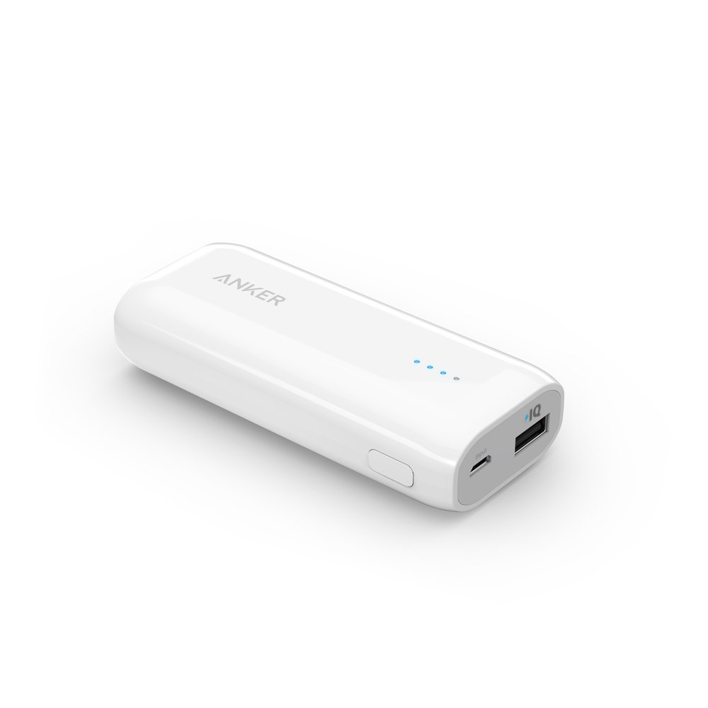 Anker® Astro E1 5200mAh Ultra Compact Portable Charger External Battery Power Bank with PowerIQTM Technology for iPhone, iPad, Samsung, Nexus, HTC and More (White)