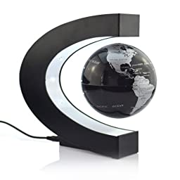 Lightahead Levitation Floating Globe Rotating Magnetic Mysteriously Suspended in Air World Map Great Fathers day, Christmas gift (Black)