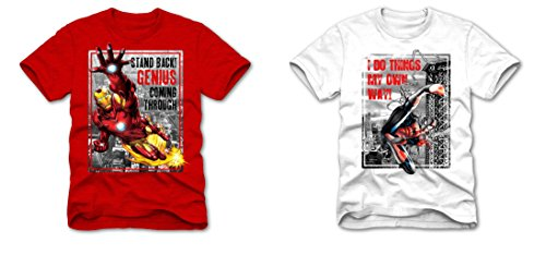 Superhero Marvel T- Shirts for Boys, Pack of 2 (X-Large (14/16), Spiderman I Do Things, White + Ironman Stand Back, Red)
