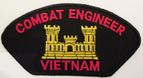 "Combat Engineer Vietnam Black Patch(Can Be Sewn Or Ironed On Jacket Or Hat) Patch 3""X5""(2-Patches Per Order)"