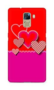 Amez designer printed 3d premium high quality back case cover for Huawei Honor 7 (Decorative composition of hearts)
