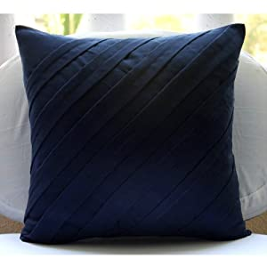Navy Blue Throw Pillow Covers : Amazon.com: Contemporary Navy - 20x20 inches Decorative Throw Navy Blue Suede Pillow Covers with ...