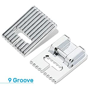Kalevel 3pcs Pintuck Presser Foot 5 7 9 Groove with Twin Stretch Double Needle Set for Singer, Brother, Babylock, Janome, Elna, Euro-Pro, Simplicity, White (4pcs Set) (Color: 4pcs Set, Tamaño: Small)