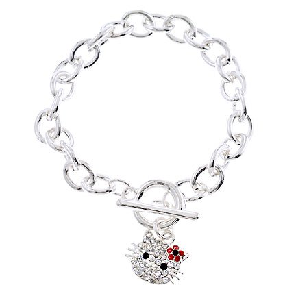 Hello Kitty Silver Red Rhinestone Link Bracelet