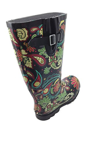 Nomad Women's Puddles Rain Boot, Black Paisley, 8 M US