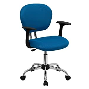 MFO Mid-Back Turquoise Mesh Task Chair with Arms and Chrome Base