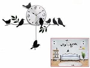 Pastoralisme style oiseau fer forg pendule suspendu for Horloge murale fer forge