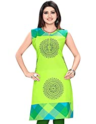 Meher Impex Parrot Green Cotton Short Sleeves Kurti