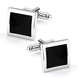 High Quality Cuff Link Pair - Black Square with Gift Box