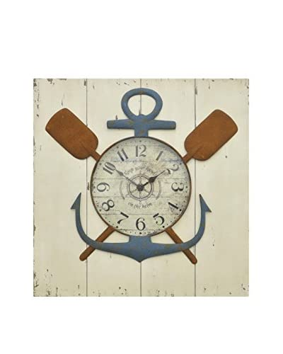 Three Hands Nautical Wood Wall Clock
