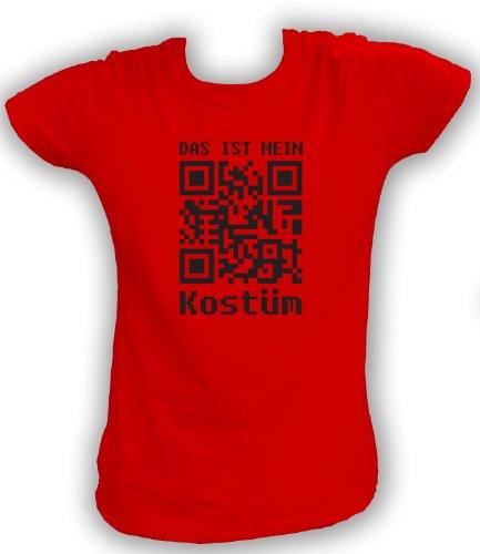 "Artdiktat QR Code Karneval Damen T-Shirt - Das ist mein "" Meerjungfrau "" Kostüm, Größe XXL, rot"