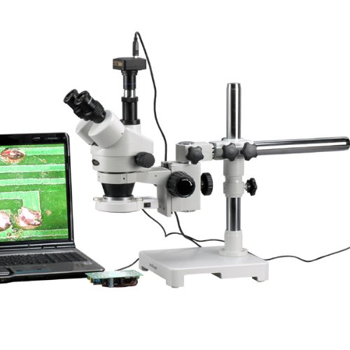 Amscope Sm-3Tyy-54S-9M Digital Professional Trinocular Stereo Zoom Microscope, Wh10X And Wh20X Eyepieces, 7X-180X Magnification, 0.7X-4.5X Zoom Objective, 54-Bulb Led Light, Single-Arm Boom Stand, 110V-240V, Includes 2.0X Barlow Lens And 9Mp Camera With R