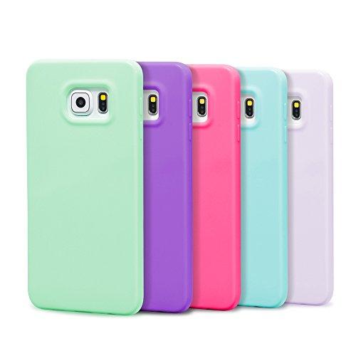 Samsung Galaxy S6 edge Plus Case, 5 Pcs Ace Teah™ Premium Slim Fit Shock Proof Flexible TPU Protective cover Bumper Case for Samsung Galaxy S6 edge Plus - Plum, Blue, Green, Purple, Deep Purple (Samsung Ace Plus Cover compare prices)