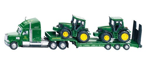 - 1:87 Scale - Low Loader With John Deere Tractors 1837 By Siku