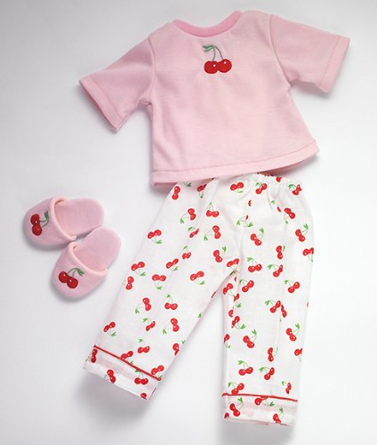 Easter Cherry Doll Pajamas and Slippers, New, Fits 18