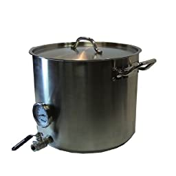 HomeBrewStuff Heavy Duty 15 Gallon Home Beer Brewing Kettle w/ Valve and Thermometer