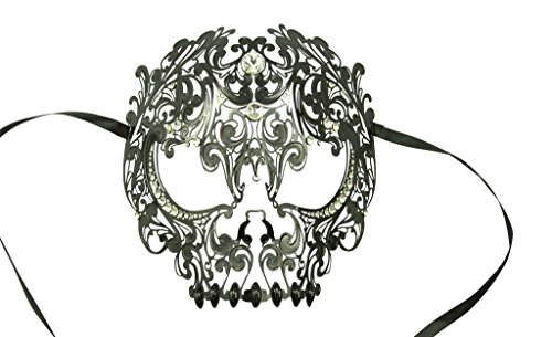 KAYSO INC Metal Day of The Dead Skull Laser Cut Masquerade Mask