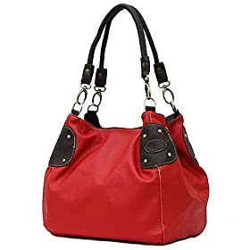 Large Red Leather Lk School Bucket Tote Hobo Handbag