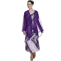 Meiro High Quality Women's Long sleeve shrug with handkerchief bottom (15263_Purple_Large) , designed in New York