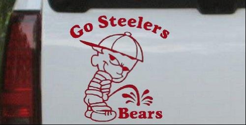 6in X 5.7in Red -- Go Steelers Pee On Bears Car Window Wall Laptop Decal Sticker