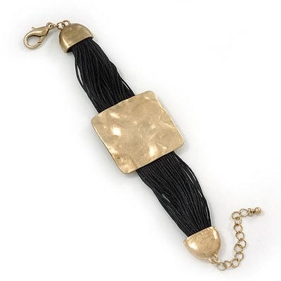 Ethnic Hammered Square Disk Black Cotton Cord