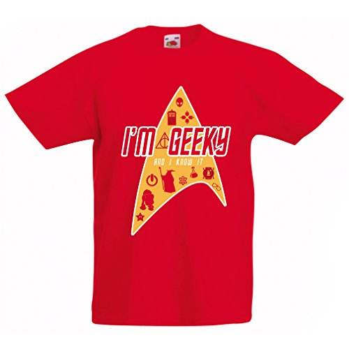 N4379K T-shirt per bambini I am Geeky (7-8 years Rosso Multicolore)
