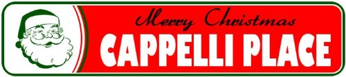 cappelli-place-personalized-lastname-merry-christmas-santa-novelty-sign-9x36-quality-aluminum-sign