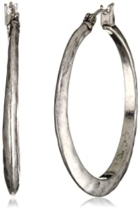 Lucky Brand Silver-Tone Hammered Round Hoop Earrings